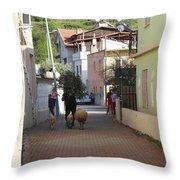 Returning Home With Sheep And Lambs In Bozburun Throw Pillow