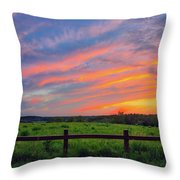 Retzer Nature Center - Summer Sunset Over Field And Fence Throw Pillow