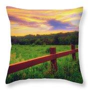Retzer Nature Center - Sunset Over Field Throw Pillow