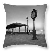 Revere Beach Clock At Sunrise Revere Ma Black And White Throw Pillow