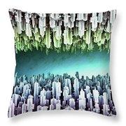 Reversible Futuristic Megalopolis City Throw Pillow