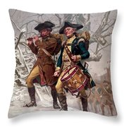 Revolutionary War Soldiers Marching Throw Pillow