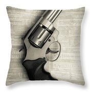 Revolver Pistol Gun Over Drawings Throw Pillow