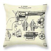 Revolving Fire Arm-1875 Throw Pillow