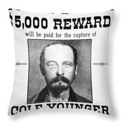 Reward Poster For Thomas Cole Younger Throw Pillow