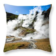 Reykjadalur Geothermal Area In Iceland Throw Pillow
