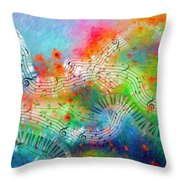 Rhapsody In Blue, And Red, And Green Throw Pillow