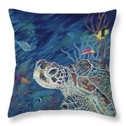 Rhapsody In Blue Throw Pillow by Danielle  Perry