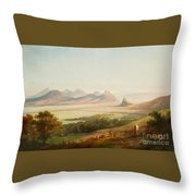 Rhenish Landscape With A View Of The Siebengebirge Throw Pillow