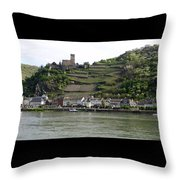 Rhine Castle And Terraced Vineyards Throw Pillow
