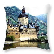 Rhine River Castle Throw Pillow