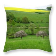 Rhineland-palatinate Summer Meadow With Cherry Trees Throw Pillow