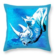 Rhino Animal Decorative Blue Poster 1 - By  Diana Van Throw Pillow