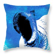 Rhino Animal Decorative Blue Poster 3 - By Diana Van Throw Pillow
