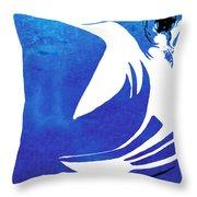 Rhino Animal Decorative Blue Poster 4 - By Diana Van Throw Pillow
