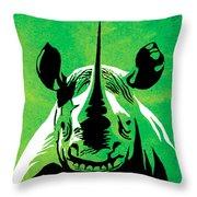 Rhino Animal Decorative Green Poster 5 - By Diana Van Throw Pillow