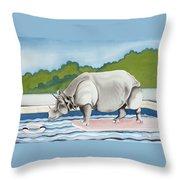 Rhino In La Throw Pillow