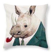 Rhino In Teal Throw Pillow