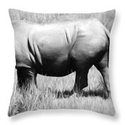 Rhino In The Grasses Throw Pillow