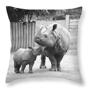 Rhino Mom And Baby Throw Pillow