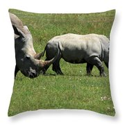 Rhino Mother And Calf - Kenya Throw Pillow