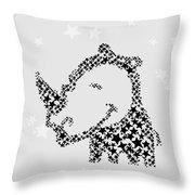 Rhinoceros Black Stars Throw Pillow