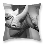 Rhinos In Black And White Throw Pillow