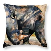 Rhinos In Dappled Shade. Throw Pillow