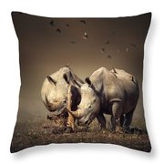 Rhino's With Birds Throw Pillow