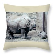 Rhinoceros And Baby Throw Pillow