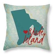 Rhode Island Anchors Throw Pillow