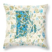 Rhode Island State Map Geometric Abstract Pattern Throw Pillow
