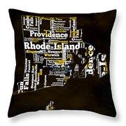 Rhode Island Typographic Map Throw Pillow