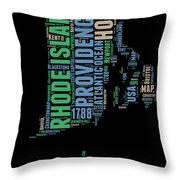 Rhode Island Word Cloud 2 Throw Pillow