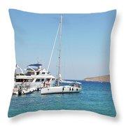 Rhodes Cup Regatta At Tilos Throw Pillow
