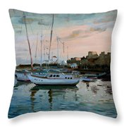 Rhodes Mandraki Harbour Throw Pillow