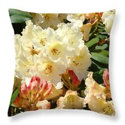Rhodies Creamy Yellow Orange 3 Rhododendrums Gardens Art Baslee Troutman Throw Pillow