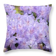 Rhododendron Floral Flowers Lavender Purple Prints Baslee Throw Pillow
