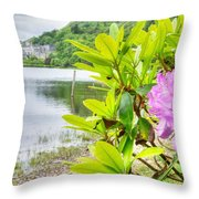 Rhododendron On Lake Kylemore, Kylemore Abbey Galway Throw Pillow