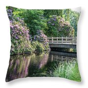 Rhododendrons And Wooden Bridge In Park Throw Pillow