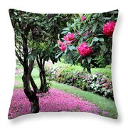 Rhododendrons Blooming Villa Carlotta Italy Throw Pillow