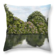 Rhododendrons By The River Throw Pillow