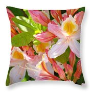 Rhododendrons Garden Floral Art Print Pink Rhodies Throw Pillow