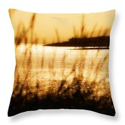 Rhos Point Viewed Through Beach Grass Throw Pillow