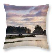 Rialto Beach Sunset On The Pacific Coast In Washington Throw Pillow