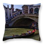 Rialto Bridge In Venice Italy Throw Pillow