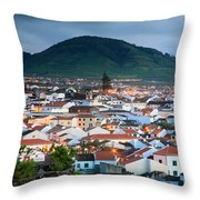 Ribeira Grande At Nightfall Throw Pillow