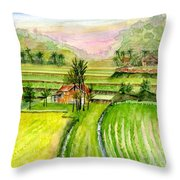 Ricefield Panorama Throw Pillow