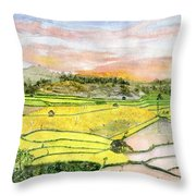 Ricefield Terrace Throw Pillow