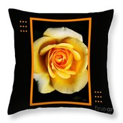 Rich And Dreamy Yellow Rose  With Design Throw Pillow